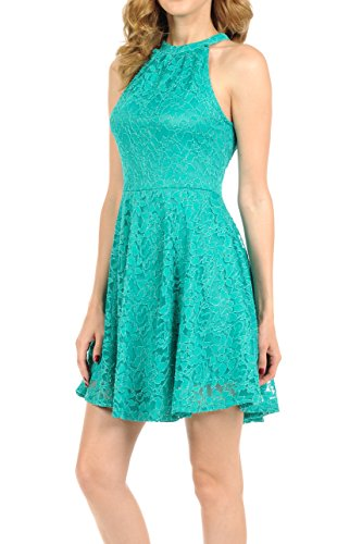 Auliné Collection Womens Halter Sleeveless Floral Lace Skater Dress Emerald Small Blue Bib Lace Dress