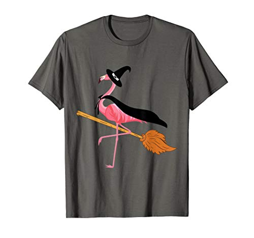 Funny Flamingo Witch Easy Halloween Costume T-shirt Tee Gift ()