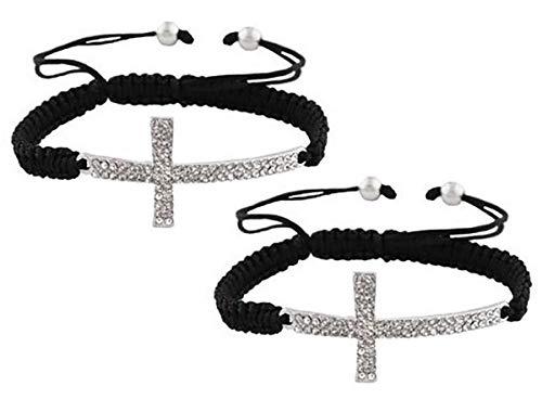 (JOTW 2 Pieces of Black with Silvertone Sideways Cross Adjustable Bracelet (S-560))
