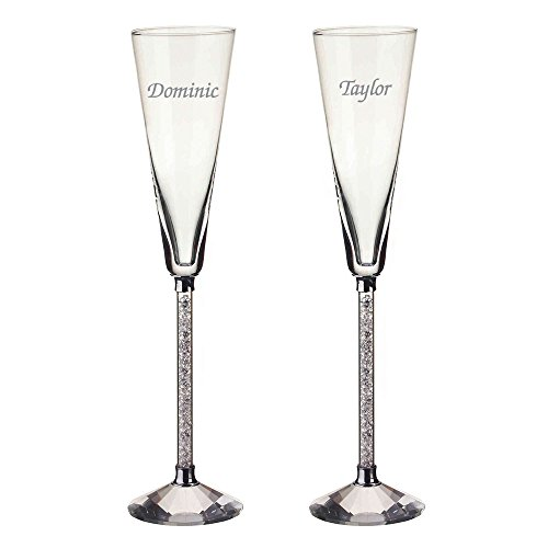 Monogrammed Oleg Cassini Crystal Gem Cluster Champagne Flute Pair, Set of 2 Flutes, Personalized Crystal Toasting Flutes, Engraved Wedding Flutes, Customized Flutes, Crystal Champagne Flutes