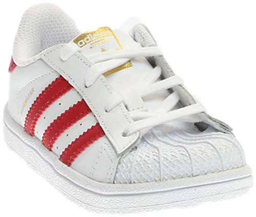 (Adidas Superstar I FTW White/Scarlet/FTW White (Infant/Toddler) (8 M US Toddler))