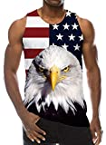 4 July Tanks Tops Men Gay 3D Printed Graphic T-Shirts Casual Hipster Patriotic USA Flag Animal Bird Hawk Tops Tees Vacation Gift XXL