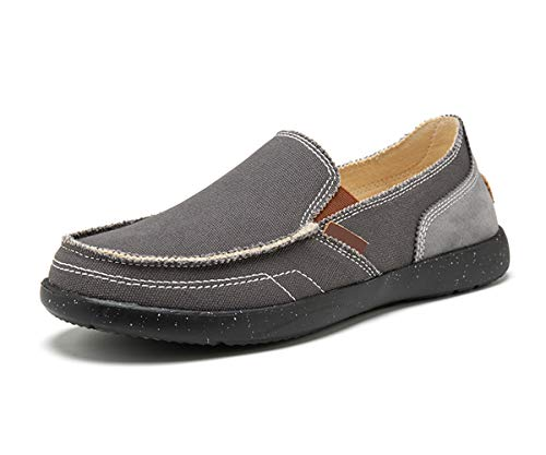 Mens Casual Canvas Shoes Wide Loafers Outdoor Boat Walking Shoes Vintage Cloth Sneakers (9.5 US,Gray) ()