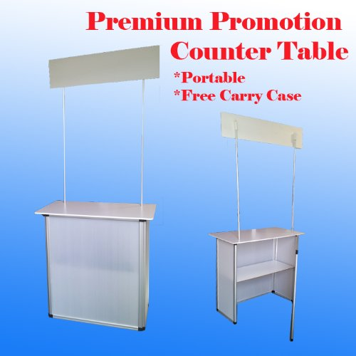 Premium Promotion Counter Table Kiosk Aluminum Frame Display Supermarket Demo Trade Show Exhibition Displayo Pop up Booth by Display Sign Mart