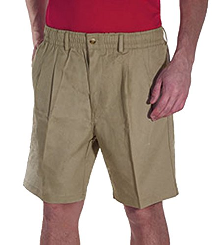 Creekwood Elastic Waist Twill Shorts for Big & Tall Men - 48tall - Khaki (Flat Front Twill Trousers)