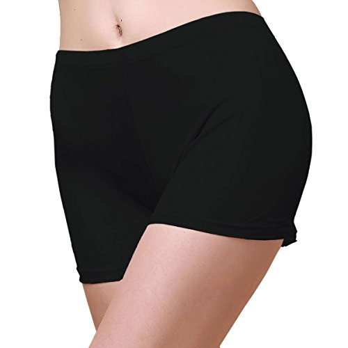 (Women's Pure Silk Knit Boyshorts Under Panties 2301 -USL-Black)