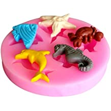 Kitchen Ware LLC 2016 New Arrival 3D Dolphin Crab Seahorse Angel Fish Silicone Cake Fondant Chocolate Mold Popular New