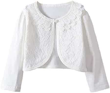 9890a30b93 Girl Lace Bolero Cardigan Shrug - Little Girl Long Sleeve Shrug Sweater  with Pearls 2-
