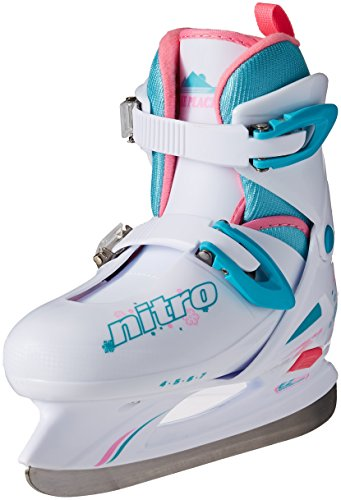 Lake Placid Girls Nitro 8.8 Adjustable Figure Ice Skate, White, Medium (Ice Girls White Skates)