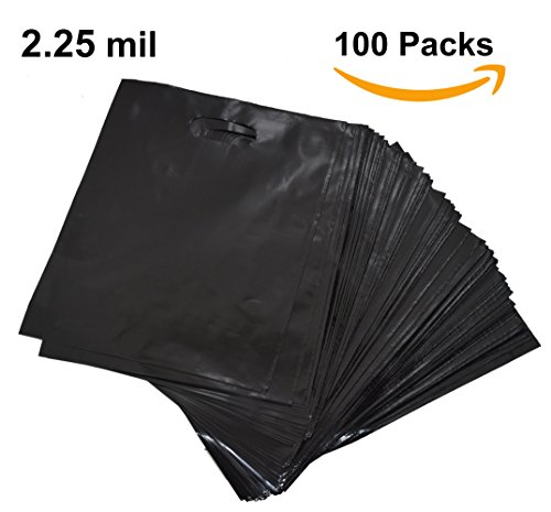 100 12x15 Merchandise Shopping Bags With Die Cut Handles | Black Extra Thick 2.25 mil LDPE Plastic Bag | Perfect for Retail Stores, Gifts, Promotion, Party Favors | 100% (Heavyweight Plastic Bags)