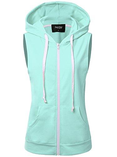 JayJay Women Athlete Stretchy Full Zip Jersey Fashion Running Hoodie Vest Jacket,Mint,S