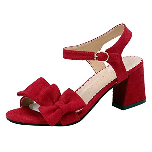 Aunimeifly Student Girl Wild Thick Chunky Square Block Sandals Peep Toes Bow Pumps Buckle Strap Flock High-Heeled Shoes Red