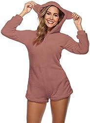Amiliashp Womens Cute Sherpa Romper Fleece Onesie Pajama One Piece Zipper Short Hooded Jumpsuit Sleepwear Play