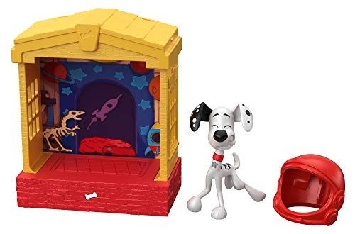 101 Dalmatian Street GBM27 Disney, Stackable Dog House (5-in) with Dylan Character Figure (3-in) and Space Helmet Accessory, Multicoloured