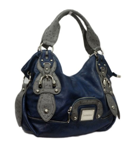 "Curated Baubles ""614"" Front Pouch NYC Designer Inspired Satchel blue, Bags Central"