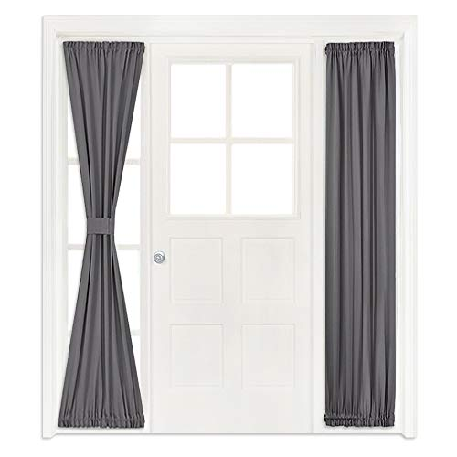 NICETOWN Side Lights Door Curtain - Functional Thermal Insulated Blackout Door Curtain Panel for Patio Door/Glass Door (25W by 72L Inches, Grey, One - Panel Door Dark