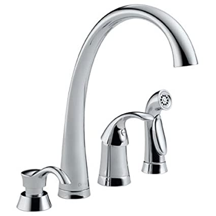 Attrayant Delta 4380 SD DST Pilar Single Handle Kitchen Faucet With Spray And Soap  Dispenser