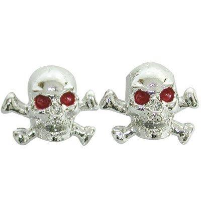 Trik Topz Skull and Bones Valve Caps pr. Chrome by Trik Topz