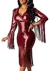 Wine-Red Colour Sequin Dress Deep V Neck & Long Sleeve