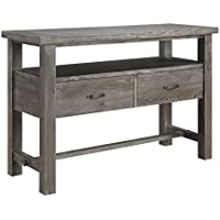 Emerald Home Paladin Rustic Charcoal Gray Buffet with Large Open Shelf And Two Drawers