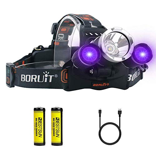 UV Headlamp, Blacklight Headlight with Ultraviolet Light 395-400nm Purple Head Torch for Art, Rock Hounds, Scorpions, Auto Oil HVAC Leaks, Pet Urine Stains(White + UV)