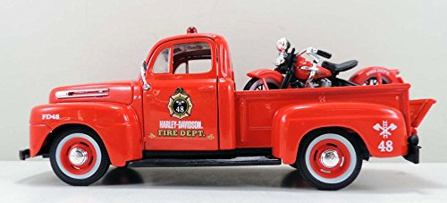 Maisto 1948/1936 Ford F-1 Pickup Harley-Davidson /El Knucklehead Motorcycle, Red HD 32191R - 1/24 scale diecast model car