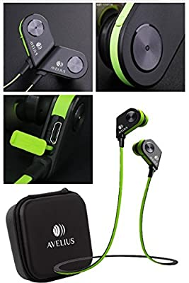 Bluetooth Sport Workout Earbuds with Mic Magnetic Stereo Wireless Headphones Secure Fit for Running Exercise Earphones In-Ear Noise Cancelling Sweatproof Headset iPhone iPad Galaxy Android Compatible