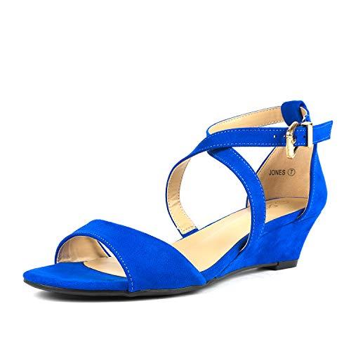 (DREAM PAIRS Women's Jones Royal Blue Low Wedge Pump Sandals Size 8.5 M)