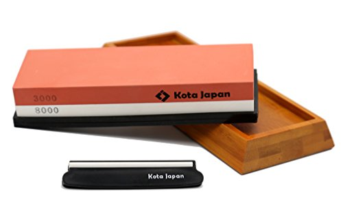 Kota Japan Combination Dual Sided 3000-8000 Grit Diamond Knife Sharpener Whetstone Set for Coarse Sharpening & Fine Polishing. Water Stone Kit | Adjustable Bamboo Holder Base | Precision Blade Guide ()