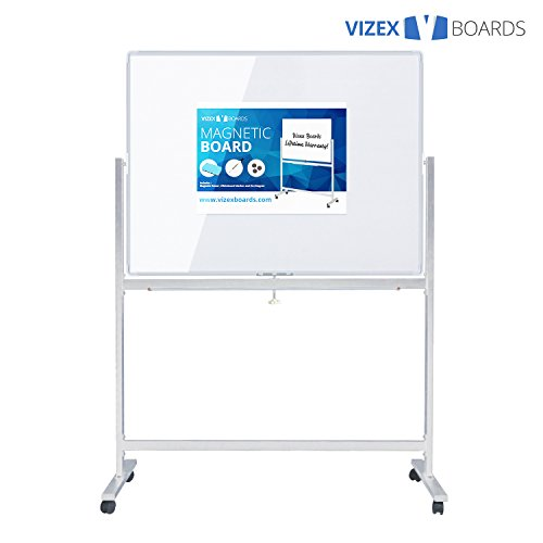 Vizex Magnetic Dry Erase Board with Stand (48'' x 36'' Whiteboard with Stand) by Vizex Boards