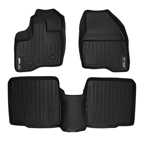 SMARTLINER Floor Mats 2 Row Liner Set Black for 2011-2014 Ford Explorer Without 2nd Row Center Console