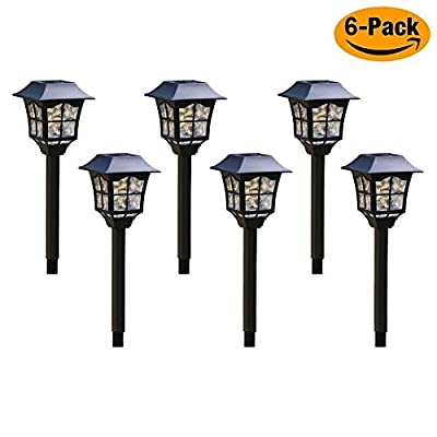 Solar Pathway Lights Outdoor + 2018 new style lights + LED lights + Weather-resistant lights, Solar Pathway lights for garden, Patio, Yard and Driveway (6 pcs in package)