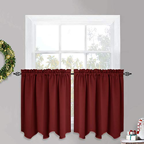 (PONY DANCE Red Window Valances - Home Decor Rod Pocket Set Match with Drapes for Bedroom Tailored Scalloped Tier Curtains, 52-inch by 36-inch, Burgundy, 2 PCs)