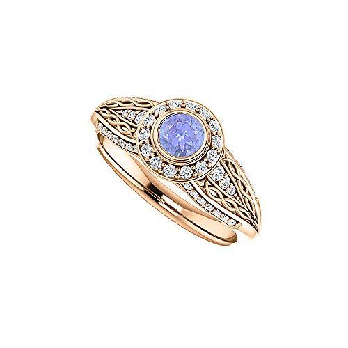 Pattern Tanzanite Ring - Tanzanite and CZ Leaf Pattern Ring Rose Gold Vermeil