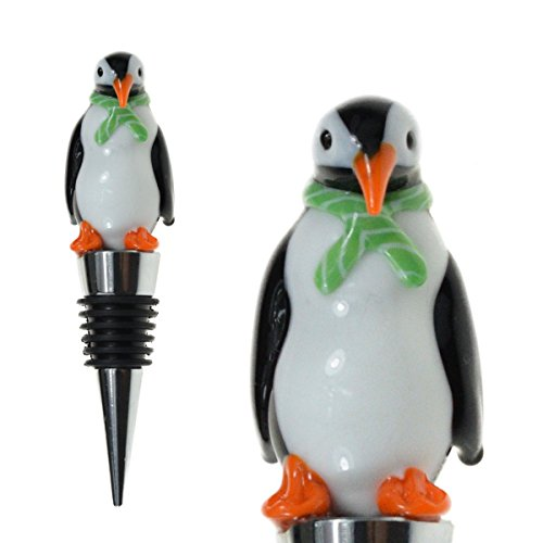 Glass Penguin Wine Bottle Stopper - Decorative, Colorful, Unique, Handmade, Eye-Catching Glass Wine Stoppers - Wine Accessories Gift for Host/Hostess - Wine -