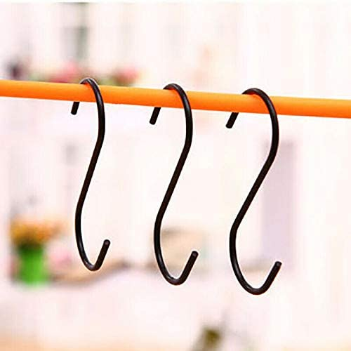 Pack of 3 S Hooks POWERTOOL S Hanging Hooks Multifunctional Heavy-Duty S Shaped Stainless Steel Hanger Hooks for Pots Pans Spoons Clothing