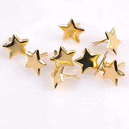 Zereff 4 Colors 50Pcs Mixed Pastel Star Brad Scrapbooking Embellishment Fastener Brads Metal Crafts for Shoes Decoration 14Mm Cp1513 - (Color: Gold)