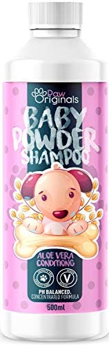 Paw Originals Baby Powder Fresh Dog Shampoo   Baby Powder Scent   500ML  Conditioning Aloe Vera Extracts Prevent Dandruff   Extra Mild For Daily Use   For Smelly, Itchy, Dogs & Puppies Pets   UK Made