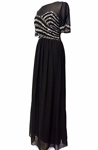 Mujer Adornado Negro Vestido Largo Vestido De Noche Negro