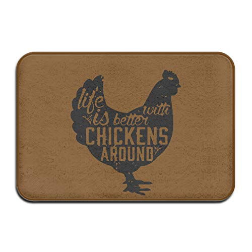 Life Is Better With Chickens Around-1 Skid Resistance Indoor Floor Mat Pet Feeding Rug