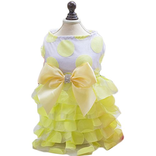 S-Lifeeling Bowknot Dress Sweet Shirts Spring Summer Teddy Dog Clothes Pet Costumes Chiffon (2)