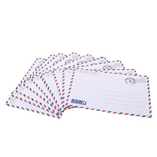 Hi-Unique 10 Pcs Vintage Kraft Paper Party Wedding Invitation Airmail Envelopes for Postcard Letters,White ()