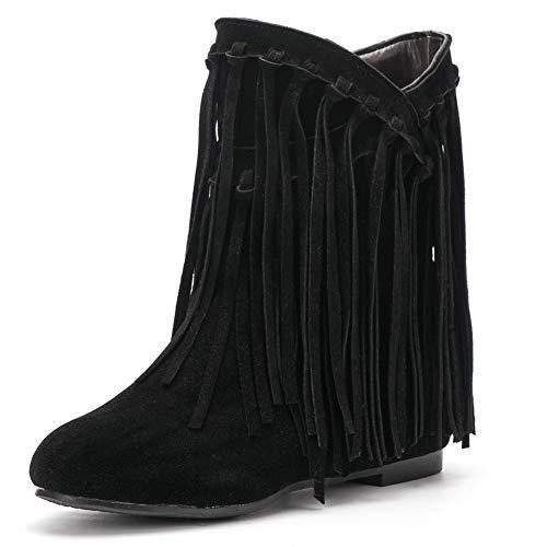 - fereshte Women's Suede Tassels Fringe Hidden Wedge Heel Ankle Boots Slip-on Bootie Black US9