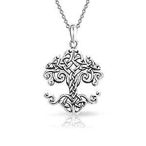 Nudo celta pequeño árbol de vida Colgante Collar de plata esterlina de 18 pulg.