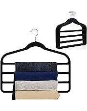 4 Tier Pants Hangers Velvet Hangers, Non Slip Velvet Clothes Hanger for Closet Organizer Space Saving Hangers for Pants Jeans Trouser Tie Towel Clothes, Multiple Pants Hanger