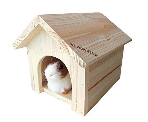 WOWOWMEOW Small Animal Wood House Guinea Pigs Hideout Cage House Bed for Hamsters Gerbils Sugar Gliders