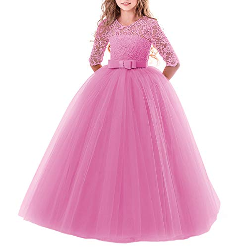Flower Girls Pageant Ball Gowns Kids Chiffon Embroidered Tulle Wedding Party Homecoming Bridesmaid Dress for Junior Teen Dusty Pink 3-4 Years