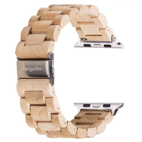 Sangaimei Handcrafted Wooden Band Compatible Apple Watch Series 4/3/2/1&Sport/Edition Samsung Gear S3 Classic/Frontier Bracelet Stainless Steel Metal Link Bracelet Classic Wristband(Samplewood)