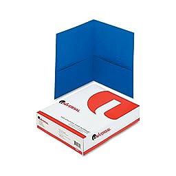 Universal Two-Pocket Portfolio, Embossed Leather Grain Paper, Light Blue, 25/Box (56601)