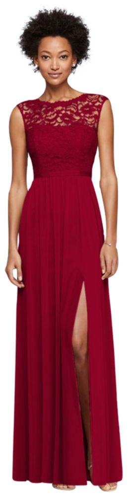 Long Bridesmaid Dress with Lace Bodice Style F19328, Apple, 22 by David's Bridal